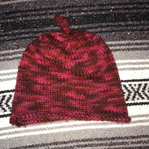 Red & Pink hand knitted winter hat